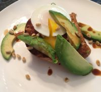 Try our go to family lunch - avocado, poach egg and pine nuts